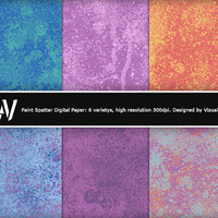 Digital Paper: Paint Splatter, 6 multicolored splattered paint patterns for invites, scrapbooking and backgrounds - print or online projects