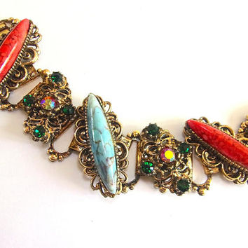Victorian Revival Navette Faux Coral & Turquoise Bracelet Slanted Red Siam ABs Book Chain, Vintage