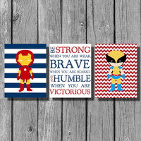 "Boys Room Decor/Superhero Wall Art/Be Strong Inspirational Quote/Nursery Decor/Little Boys Wall Art/Set of 3 8""x10"" Prints"