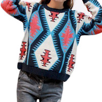 Colorful Geometric Round Neck Double Thick Pullover Sweater,Cheap in Wendybox.com