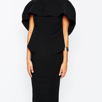 AQ AQ Bonita Midi Dress With Cape Overlay