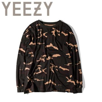 auguau Kanye West YEEZY Camouflage T Shirt 1:1 High Quality SEASON 1 Summer Justin Bieber Clothes  Military Army Camo YEEZUS T-shirts