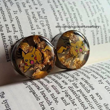 Pokemon Pikachu electroshock plugs sizes 10mm and above! For pair.