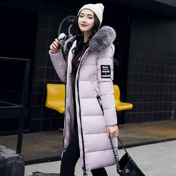 2017 winter new thickening knee long feathers down jacket with large hooded jacket winter coat women campera mujer A659