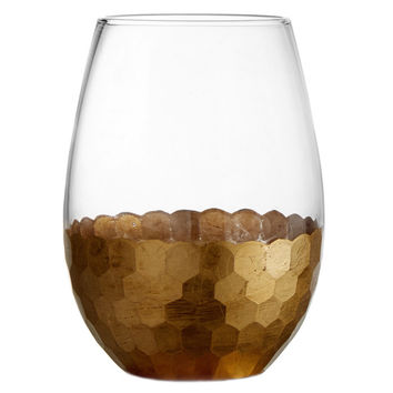 Fitz and Floyd Daphne 20-ounce Gold Stemless Glasses (Set of 4) | Overstock.com Shopping - The Best Deals on Wine Glasses