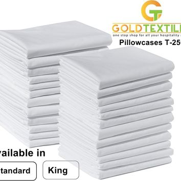 Polycotton Pillowcase White T-250, Perfect for Physical Therapy Clinics, Hotels, Camps -available in Standard and King Size