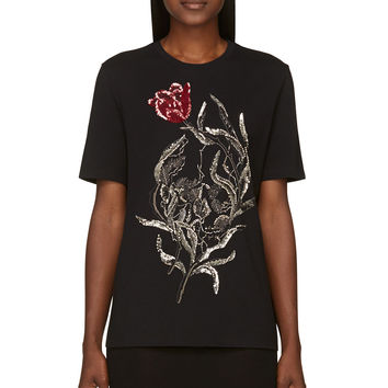 Alexander Mcqueen Black Embellished Tulip And Skull T-shirt