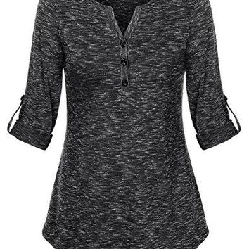 Vivilli Womens V Neck Cuffed Sleeve Blouse Top Space Dyed Casual Henley Shirts