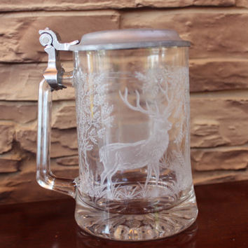 Vintage Etched Glass Beer Stein Mug Pewter Lid Etched Wild Deer Wolfgang