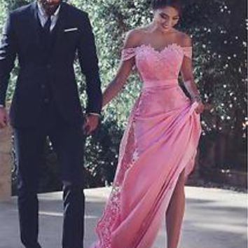 Off the Shoulder Long Chiffon Bridesmaid Formal Dreess with Detachable Train
