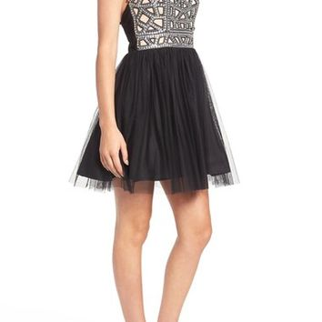 Blondie Nites Embellished Cage Bodice Skater Dress | Nordstrom