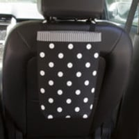 Car Trash Bag ~ Black Polka Dots ~ Striped Black Band ~ Headrest Handle ~ Standard Lining