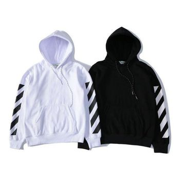 Off White Striped Hooded Sweater