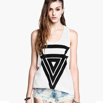 White Triangle Printed Sleeveless Tank Top
