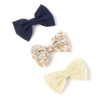 Small Navy, Floral Print and Lace Bow Hair Clips Set of 3  | Icing