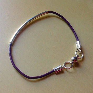 Purple Leather Awareness Tube Bracelet-Noodle Curved-Friendship-Epilepsy-Alzheimer's-Cystic Fibrosis-Crohns-Cancer-Lupus-Suicide-Child Abuse