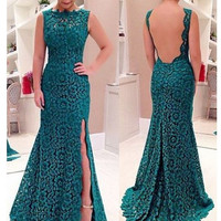 Ball Gown Lace Split Backless Prom Dress One Piece Dress [4919725892]