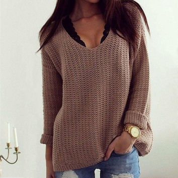 Fashion Women's Long Sleeve Pullovers Knitted Sweaters