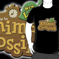 Animal Crossing New Leaf custom logo black t-shirt