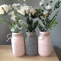 Blush Pink and Gray Distressed Mason Jars