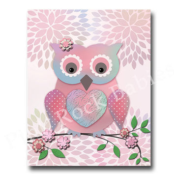 Owl nursery wall decor bird nursery wall art for baby girl room decor children artwork kids room decor playroom decor pink nursery decor