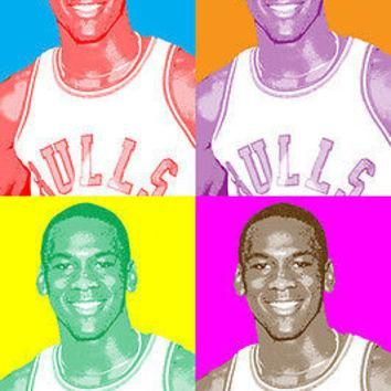 MICHAEL JORDAN celebrity ATHLETE multiple image POP ART POSTER retro feel