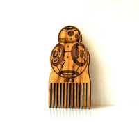 Star Wars Beard Comb BB-8 Robot Shaped Wooden Mustache Comb Gift idea Men For Him Fathers Day Gift Gift for Him Husband Gift Friend Gift