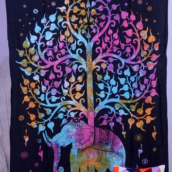 Elephant Tapestries Hippie Gypsy tapestry Tree Of by THEWALLARTS