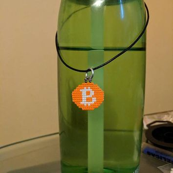 Beaded Bitcoin Cryptocurrency charm made from Delica seed beads