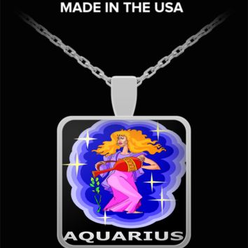 Zodiac Woman Aquarius Pendant Necklace