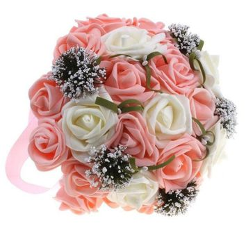 ONETOW High Simulation White Rose Bridal Holding Flowers Bouquet Wedding Flower Decorations Valentine's Gift = 1932470916
