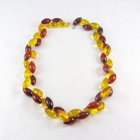 Art Deco Beaded Bakelite Necklace Cherry Amber & Apple Juice Prystal Bakelite Jewelry