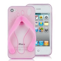 Flip-flop Slipper TPU Case For iPhone 4 (AT&T Only) PINK