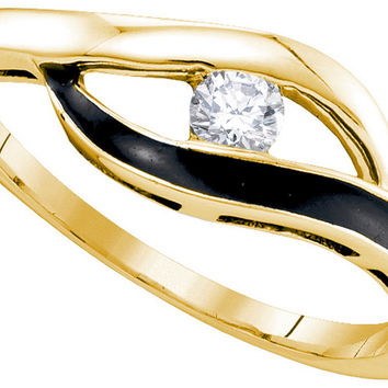 10kt Yellow Gold Womens Round Diamond Solitaire Black-tone Promise Bridal Ring 1/8 Cttw 84467