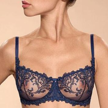 Sexy Sheer Demi Cup Bra Ajour Navy Blue
