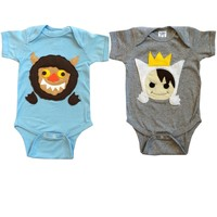 Where the Wild Things Are Baby Bodysuit Collection: Handmade Felt Appliqued Onesuits - TEMP. OUT OF STOCK – ORDERS SHIP EARLY AUGUST
