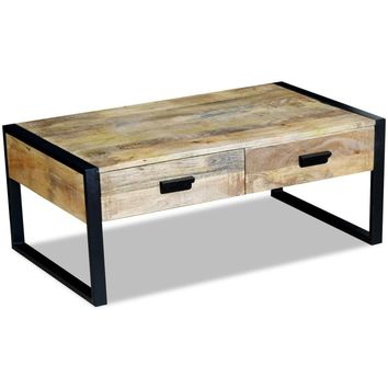 "Coffee Table with 2 Drawers Solid Mango Wood 39.4 x 23.6"" x 15.7"""