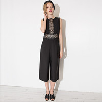 Sleeveless Lace Wide Leg Jumpsuit