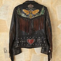 Free People Vintage Melanie Bendavid Hand-Painted Leather Jacket