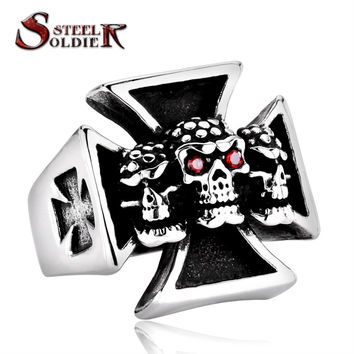 Steel soldier Men's Punk Rock Jewelry Size 7-13 New Three Skull Iron Cross Ring For Men Red Stone Stainless Steel ring BR8-214