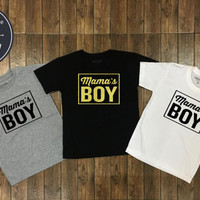 Mama's Boy Shrit - Kids Birthday Shirt - Boy Clothing - Funny Birthday - Mom and Son Shirt , Kid Shirt, Boy tee, Boy Shirt, Flock printing