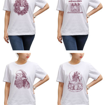 Women Christmas hand drawn set Print Short Sleeves T-shirt WTS_17