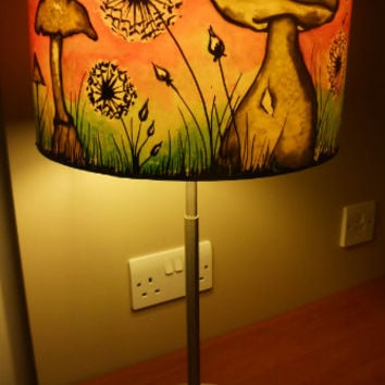 Best hand painted lamp shades products on wanelo dandelion clock mushroom hand silk painted lamp shade 30cm drum made to aloadofball Choice Image