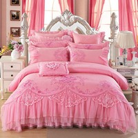 8/10Pcs Luxury Pink Color King Queen Size Royal Bedding Set  Embroidery Stain Jacquard Wedding Bed set Duvet Cover Bed Spread