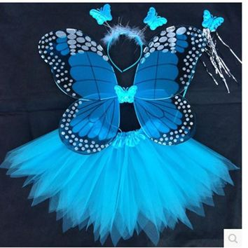 Angel Butterfly Wings and Tutu Skirts Halloween Cosplay Costumes For Fairy Girls Kids Performance Costumes Free Shipping