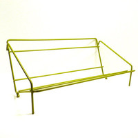 mod book rack, wire shelf, table top organizer, home office, dorm room, avocado green decor, retro, book holder, library, mid century, metal