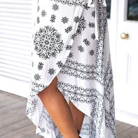 White Tribal Print High Waist Front Slit Maxi Skirt