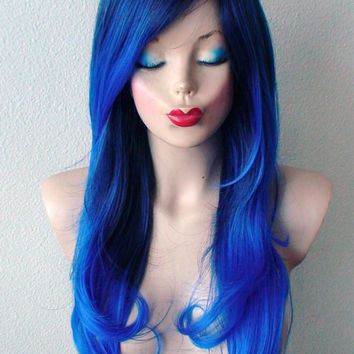 Royal Blue Ombre wig. Long wavy hairstyle long side bangs Heat resistant durable blue hair wig for Daily use or Cosplay