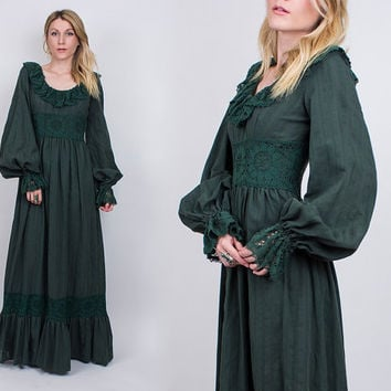 vintage 70s bohemian crochet knit maxi dress hunter green sweeping poet sleeve prairie dress empire waist