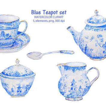 Hand drawn watercolor blue teapot set tea cup instant download scrapbook watercolor cards wedding invitations clipart